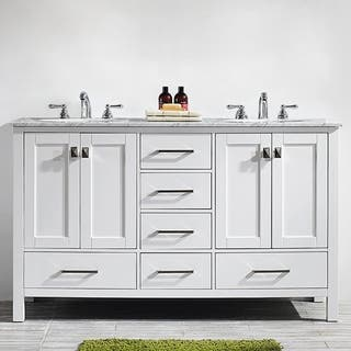 Vinnova Gela 60-inch White Double Vanity with Carrera White Marble Top|https://ak1.ostkcdn.com/images/products/10601837/P17674309.jpg?impolicy=medium