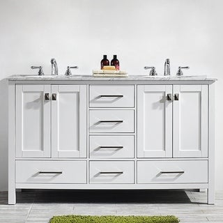 Vinnova Gela 60 Inch White Double Vanity With Carrera White Marble Top