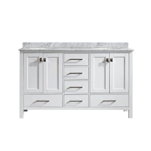Vinnova gela 60 inch white double vanity with carrera white marble top free shipping today for 60 bathroom vanity without top