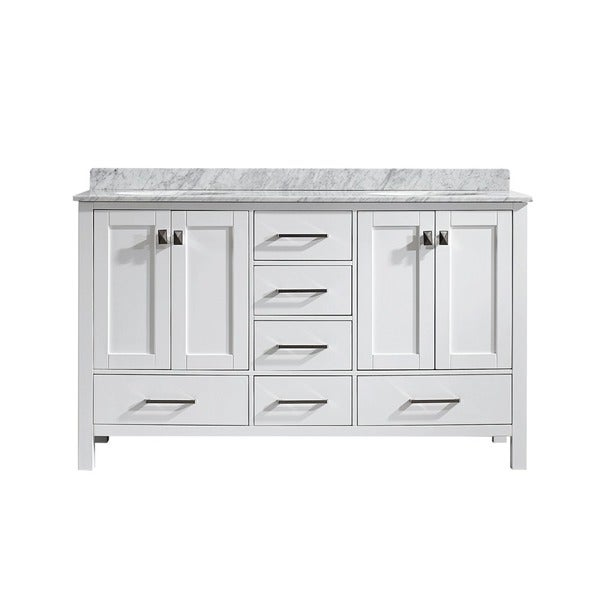 Vinnova Gela 60 Inch White Double Vanity With Carrera White Marble Top Without Mirror Free