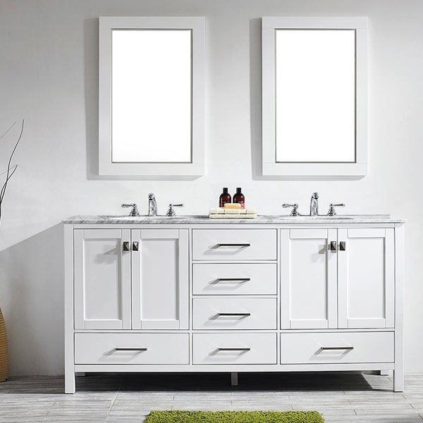 Gela 72-inch White Double Vanity with Carrera White Marble Top with Mirror. Opens flyout.