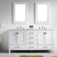 Gela 72-inch White Double Vanity with Carrera White Marble Top with Mirror