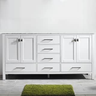 Vinnova Gela 72-inch White Double Vanity with Carrera White Marble Top without Mirror|https://ak1.ostkcdn.com/images/products/10601840/P17674311.jpg?impolicy=medium