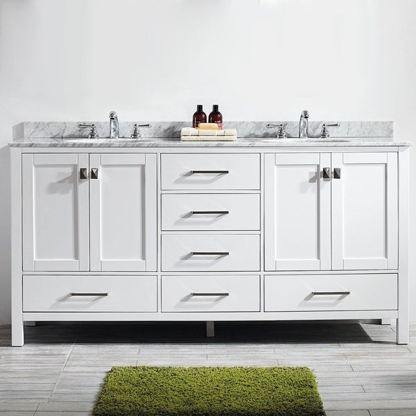 Vinnova Gela 72-inch White Double Vanity with Carrera White Marble Top without Mirror