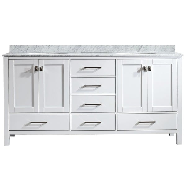 Vinnova gela 72 inch white double vanity with carrera for 72 bathroom vanity without top