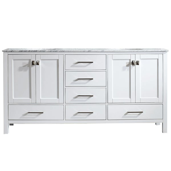 Vinnova Gela 72 Inch White Double Vanity With Carrera White Marble Top Without Mirror Free