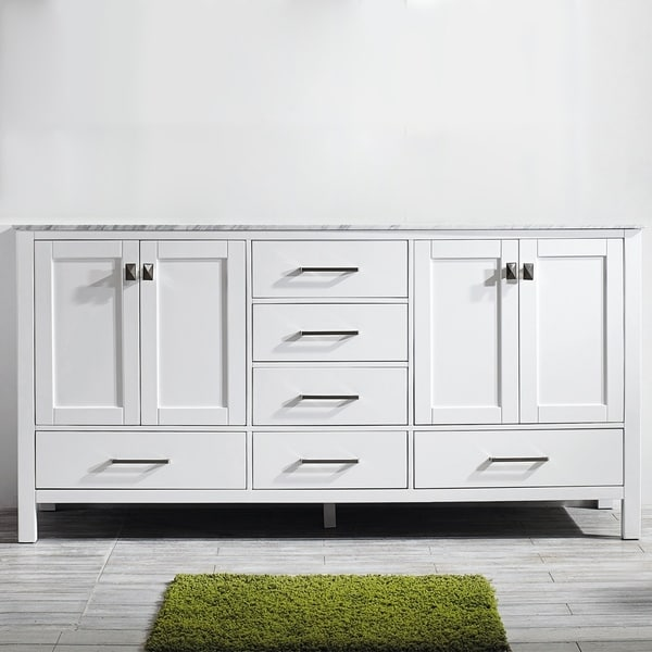 Vinnova Gela 72-inch White Double Vanity with Carrera White Marble Top without Mirror. Opens flyout.