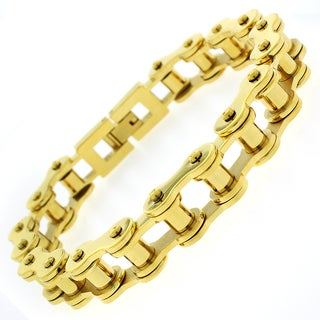 Stainless Steel Mens Yellow Goldplated 8.5-inch Bicycle Chain Link Bracelet