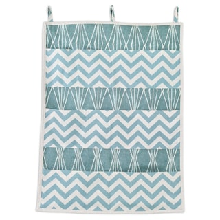 Blue Chevron 9-pocket Wall Hanging Organizer