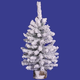 "12"" Flocked Mini Pine Tree with 93 PVC Tips and Wooden Base"
