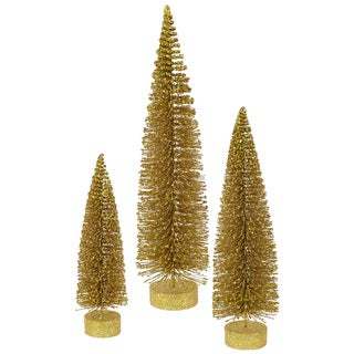 "12""-16""-20"" Gold Glitter Oval Tree Set"