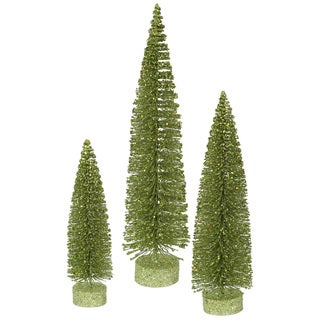 "12""-16""-20"" Lime Green Glitter Oval Tree"