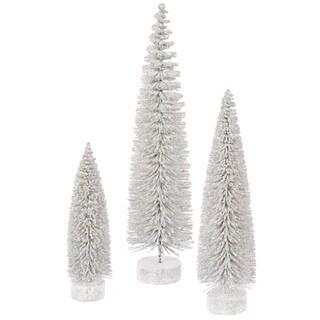 """12""""-16""""-20"""" White Snow Oval Tree Set"""