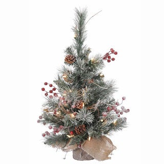 2-Foot Snow Tipped Pine and Berry Tree with 20 Clear Mini Lights