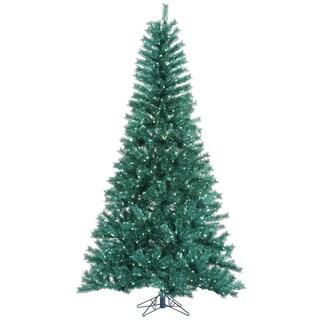 """9' x 57"""" Aqua Tinsel Tree with 1000 Teal Mini Lights"""