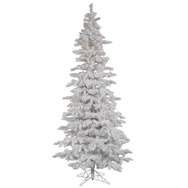 Shop 9 Pre Lit Flocked White Spruce Slim Christmas Tree Clear Led