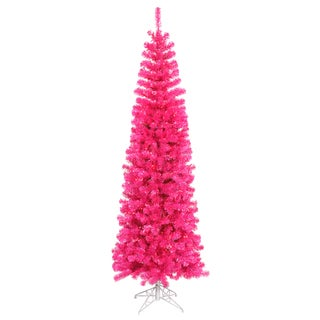 """9' x 44"""" Pink Pencil Tree with 550 Pink Mini Lights and 1401 PVC Tips"""