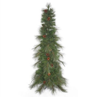 "9' x 42"" Big Cascade Pine Slim Green Christmas Tree with Pinecones and Metal Stand"