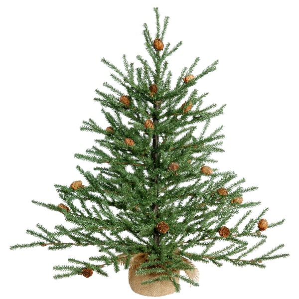 """24"""" Carmel Pine with Cones with Burlap Base"""
