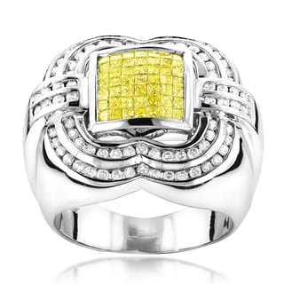 Luxurman 14k White Gold Men's 2 1/2ct TDW White and Yellow Diamond Pave Ring (G-H, SI1-SI2)