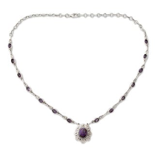 Sterling Silver 'Purple Halo' Amethyst Turquoise Necklace (India)