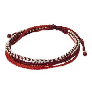 Handmade Sterling Silver 'Fiery Red' Bracelet (Thailand)