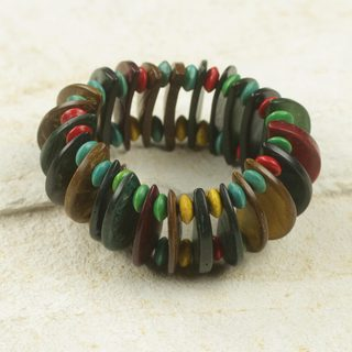 Handcrafted Coconut Shell 'Forest Naa Awula' Bracelet (Ghana)