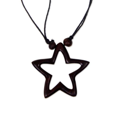 Handmade Sono Wood 'My Star of Hope' Necklace (Bali)
