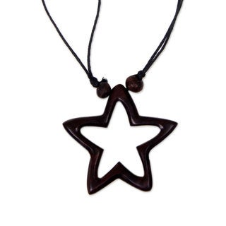 Handcrafted Sono Wood 'My Star of Hope' Necklace (Indonesia)
