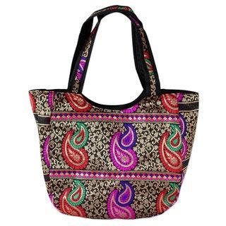 Handmade Brocade 'Double Paisley' Shoulder Bag (India)