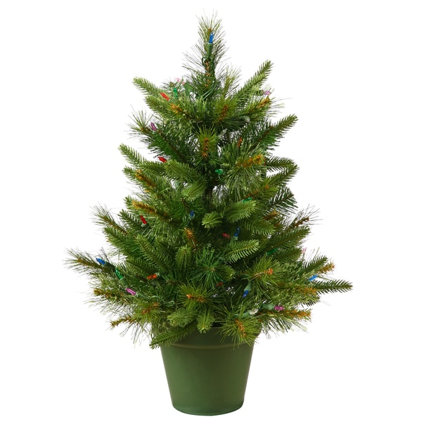 Potted Artificial Christmas Tree: Shop 2' Pre-Lit Mixed Pine Cashmere Potted Artificial