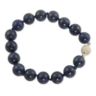 Handcrafted Lapis Lazuli 'Worlds of Blue' Bracelet (Brazil)