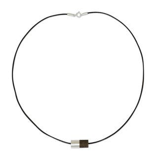 Equilibrium Contemporary Bead of Elm Wood and Contrasting 925 Sterling Silver on Cotton Cord Mens Modern Necklace (Thailand) https://ak1.ostkcdn.com/images/products/10602154/P17674613.jpg?impolicy=medium