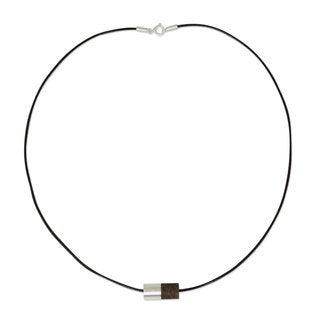 Equilibrium Contemporary Bead of Elm Wood and Contrasting 925 Sterling Silver on Cotton Cord Mens Modern Necklace (Thailand)