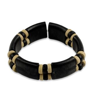 Handmade Sese Wood 'Midnight Connection' Bracelet (Ghana)
