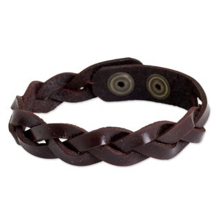 Handcrafted Men's Leather 'Cordovan Rope' Bracelet (Thailand)