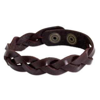 Handmade Men's Leather 'Cordovan Rope' Bracelet (Thailand)