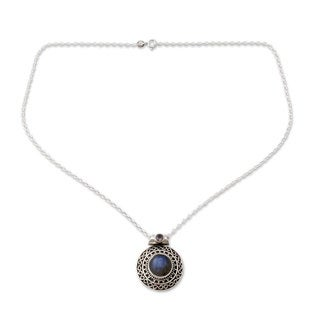 Silver 'Aurangabad Princess' Labradorite Amethyst Necklace (India)