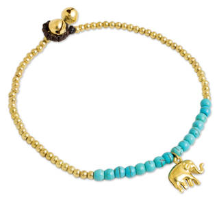 Handcrafted Brass 'Stylish Elephant' Calcite Anklet (Thailand)