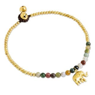 Handcrafted Brass 'Stylish Elephant' Agate Anklet (Thailand)