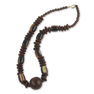 Handcrafted Sese Wood 'Edinam' Necklace (Ghana)