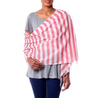 Handmade Cotton 'Casual Red' Shawl (India)