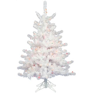 "3' x 24"" Crystal White Tree with 50 Clear Dura-Lit Lights"