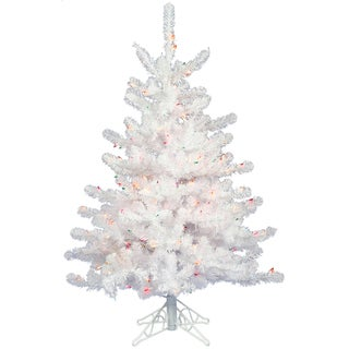 "3' x 24"" Crystal White Tree with Warm White LED Lights"