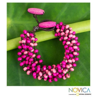 Handcrafted Littleleaf Wood 'Pink Orchid Duality' Bracelet (Thailand)