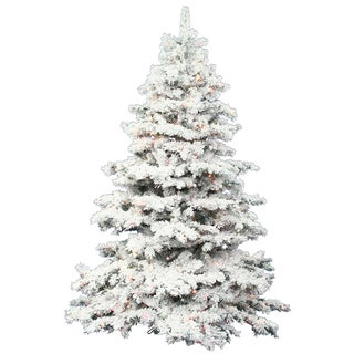 "7.5' x 68"" Flocked Alaskan Tree with Tree with 900 Multi-Colored Italian LED Lights"
