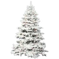 "7.5' x 68"" Flocked Alaskan Tree with Tree with 900 Multi-Colored Italian LED Lights"