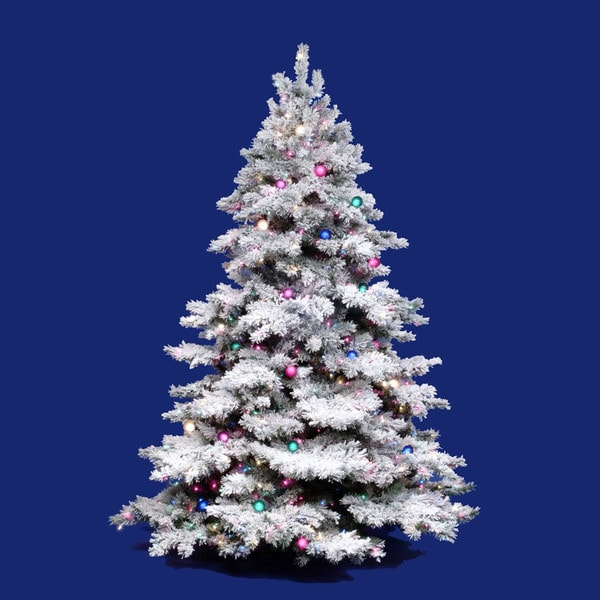 """7 5 Foot Artificial Christmas Tree Multi Colored Lights: 7.5' X 68"""" Flocked Alaskan Tree With Multi-Colored Lights"""