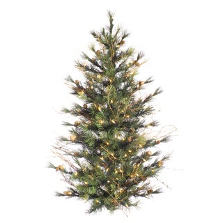 "3' x 28"" Mixed Country Pine Wall Tree with 100 Clear Lights"