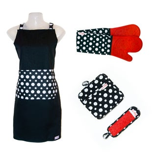 Le Chef 4-piece Dot Floral Apron Set
